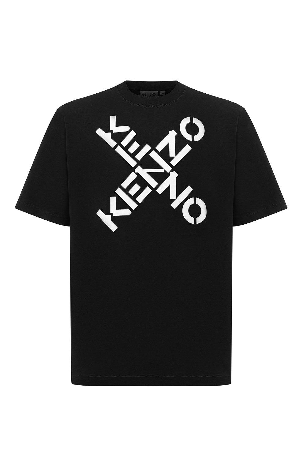 Мужская хлопковая футболка kenzo sport KENZO черного цвета, арт. FA65TS5024SJ | Фото 1 (Рукава: Короткие; Длина (для топов): Стандартные; Стили: Гранж, Спорт-шик; Принт: С принтом; Материал внешний: Хлопок)