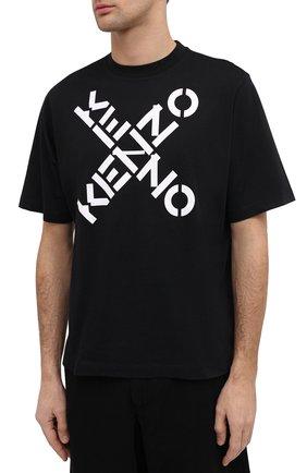 Мужская хлопковая футболка kenzo sport KENZO черного цвета, арт. FA65TS5024SJ | Фото 3 (Рукава: Короткие; Длина (для топов): Стандартные; Стили: Гранж, Спорт-шик; Принт: С принтом; Материал внешний: Хлопок)