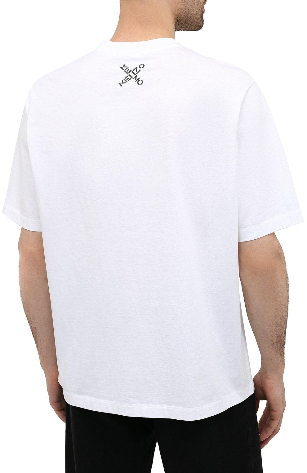Мужская хлопковая футболка kenzo sport KENZO белого цвета, арт. FA65TS5024SJ   Фото 4 (Рукава: Короткие; Длина (для топов): Стандартные; Стили: Гранж, Спорт-шик; Принт: С принтом; Материал внешний: Хлопок)