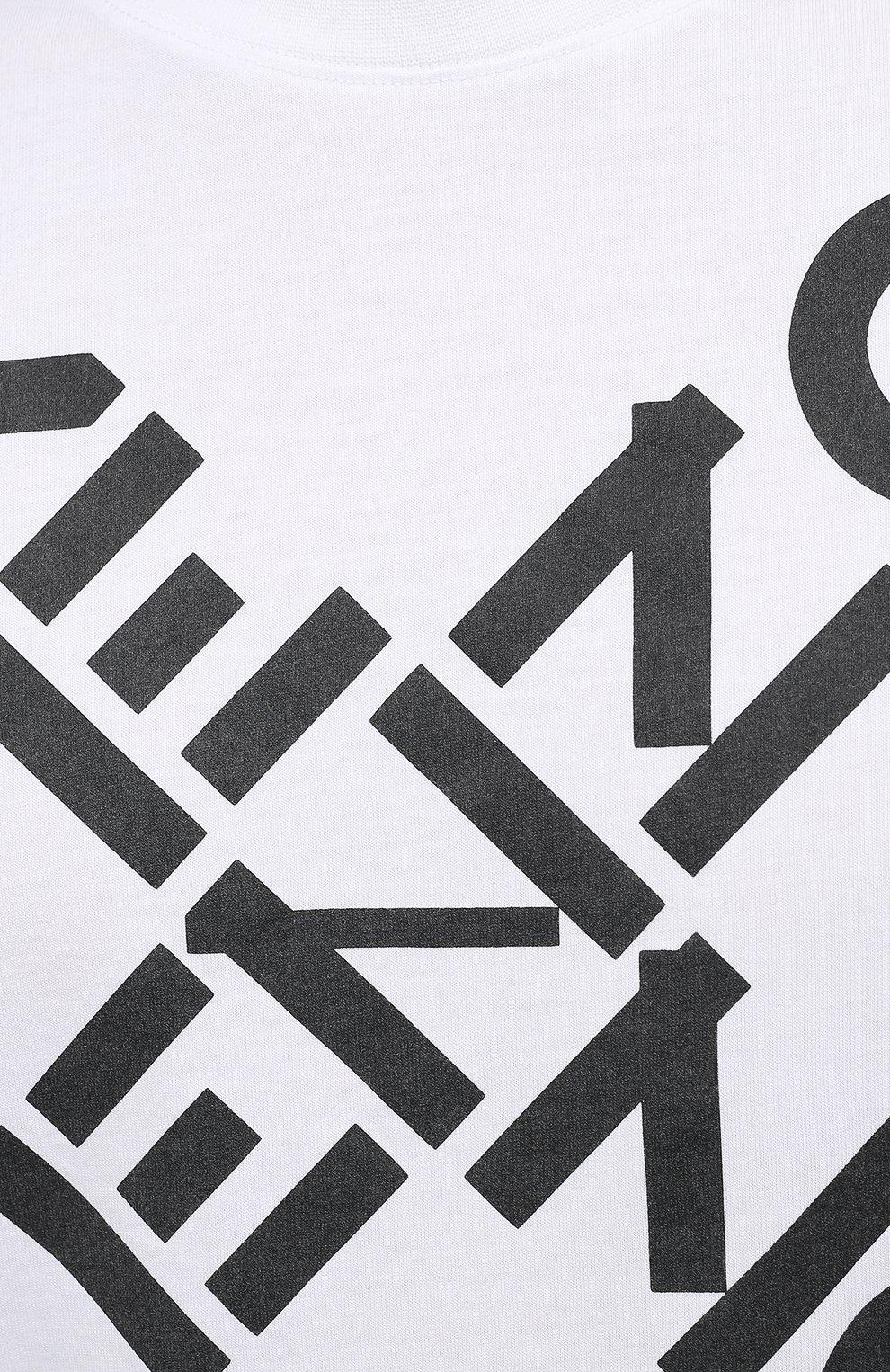 Мужская хлопковая футболка kenzo sport KENZO белого цвета, арт. FA65TS5024SJ   Фото 5 (Рукава: Короткие; Длина (для топов): Стандартные; Стили: Гранж, Спорт-шик; Принт: С принтом; Материал внешний: Хлопок)