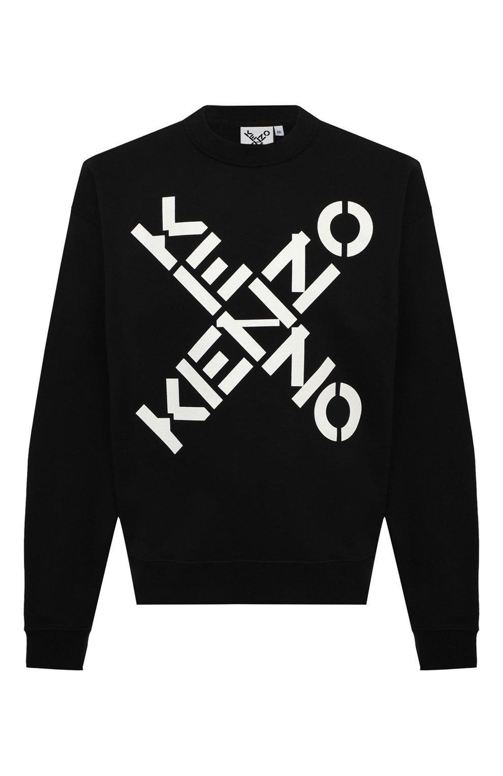 Мужской хлопковый свитшот kenzo sport KENZO черного цвета, арт. FA65SW5214MS   Фото 1 (Рукава: Длинные; Длина (для топов): Стандартные; Стили: Гранж; Принт: С принтом; Мужское Кросс-КТ: свитшот-одежда; Материал внешний: Хлопок)