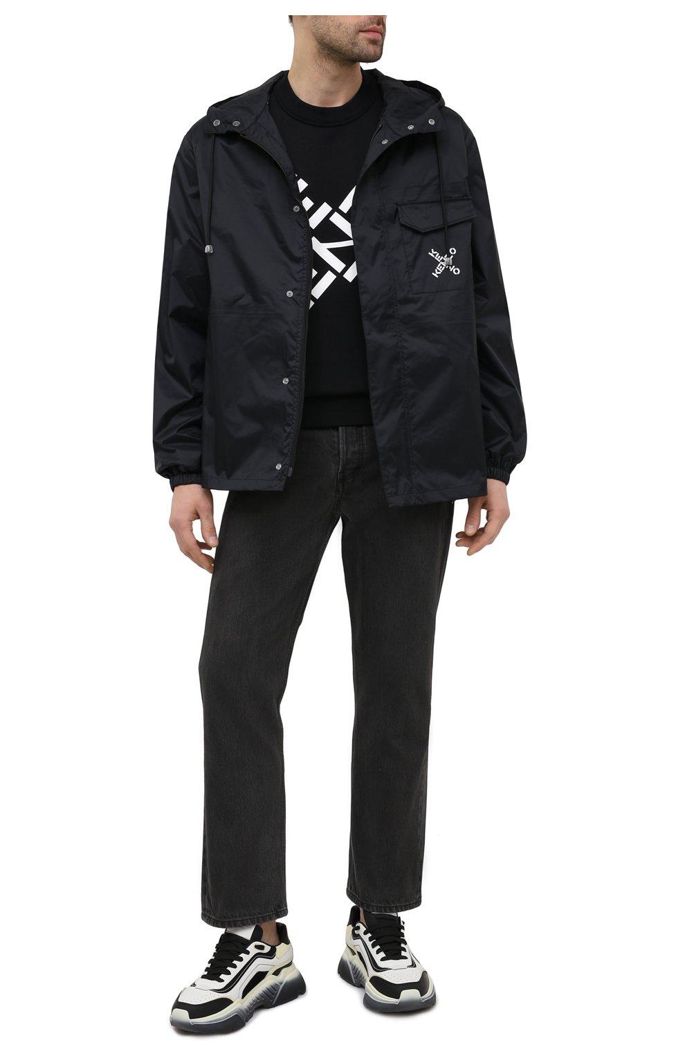 Мужской хлопковый свитшот kenzo sport KENZO черного цвета, арт. FA65SW5214MS   Фото 2 (Рукава: Длинные; Длина (для топов): Стандартные; Стили: Гранж; Принт: С принтом; Мужское Кросс-КТ: свитшот-одежда; Материал внешний: Хлопок)
