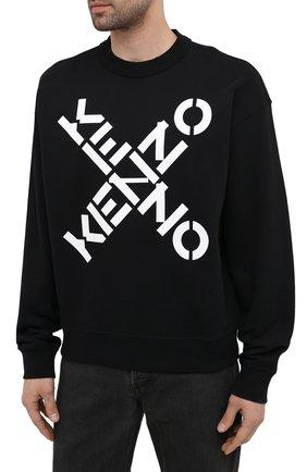 Мужской хлопковый свитшот kenzo sport KENZO черного цвета, арт. FA65SW5214MS   Фото 3 (Рукава: Длинные; Длина (для топов): Стандартные; Стили: Гранж; Принт: С принтом; Мужское Кросс-КТ: свитшот-одежда; Материал внешний: Хлопок)