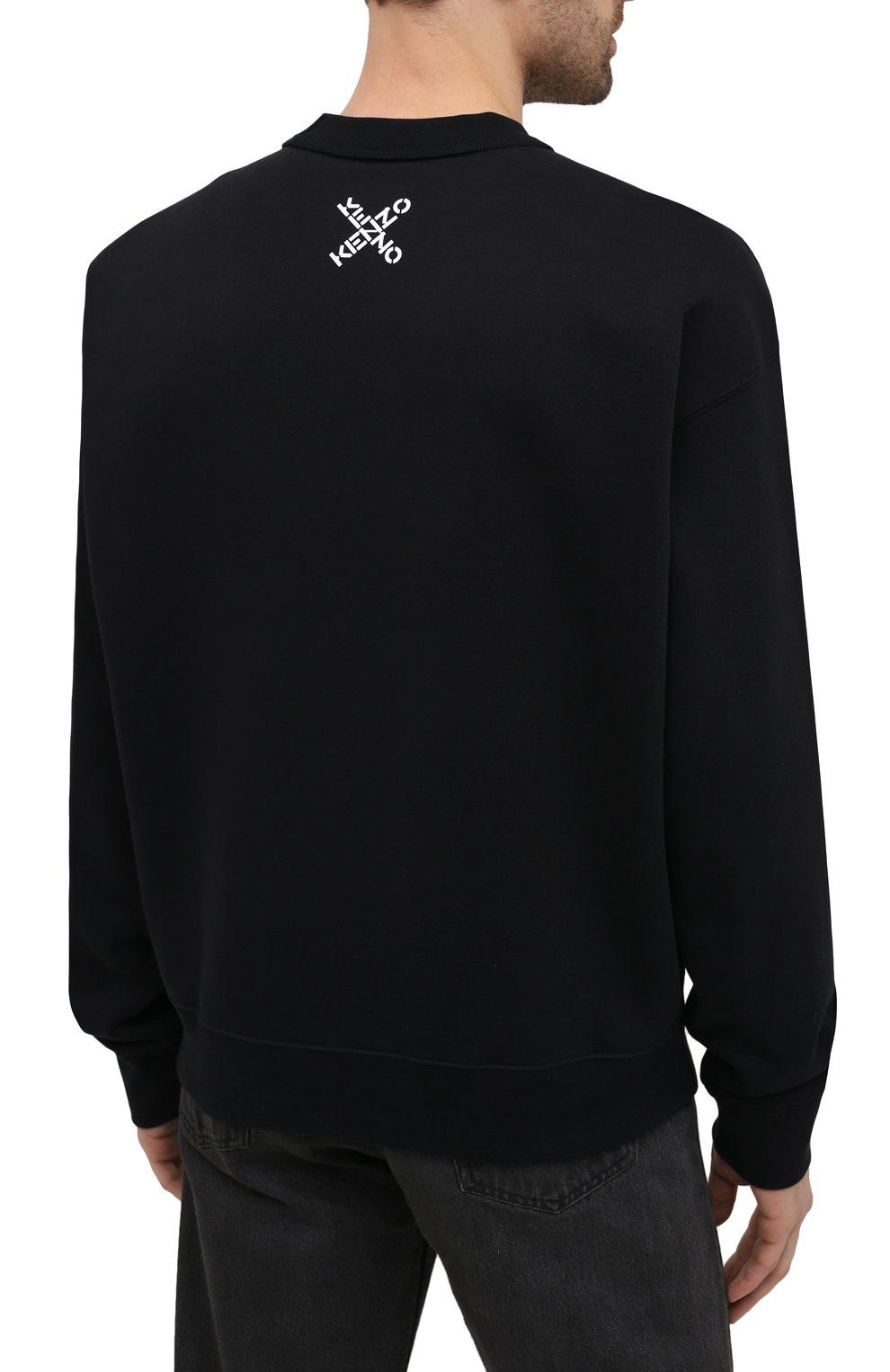 Мужской хлопковый свитшот kenzo sport KENZO черного цвета, арт. FA65SW5214MS   Фото 4 (Рукава: Длинные; Длина (для топов): Стандартные; Стили: Гранж; Принт: С принтом; Мужское Кросс-КТ: свитшот-одежда; Материал внешний: Хлопок)