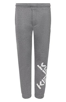 Мужские хлопковые джоггеры kenzo sport KENZO серого цвета, арт. FA65PA7124MS | Фото 1 (Мужское Кросс-КТ: Брюки-трикотаж; Длина (брюки, джинсы): Стандартные; Материал внешний: Хлопок; Силуэт М (брюки): Джоггеры; Стили: Спорт-шик)