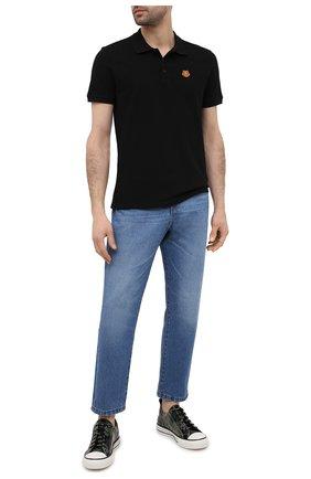 Мужское хлопковое поло KENZO черного цвета, арт. FA65P00014PU | Фото 2