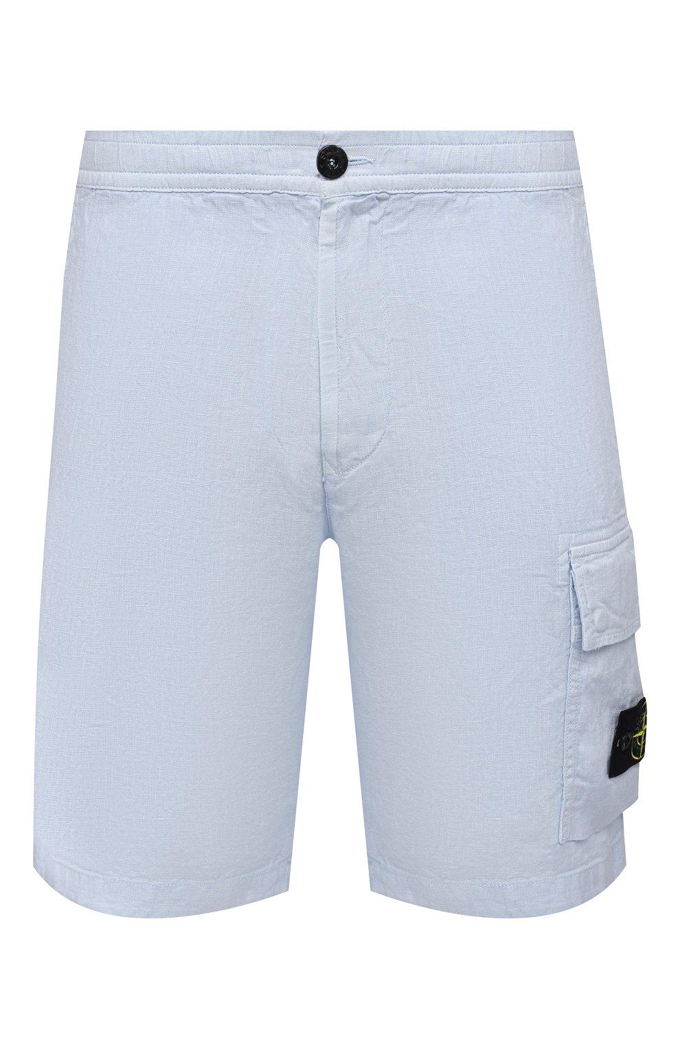 Мужские льняные шорты STONE ISLAND светло-голубого цвета, арт. 7415L1201 | Фото 1