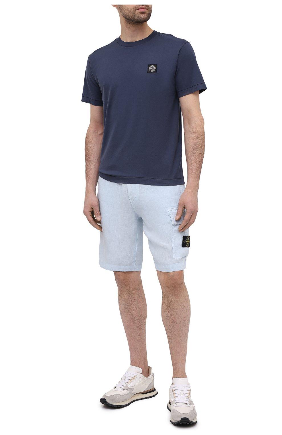 Мужские льняные шорты STONE ISLAND светло-голубого цвета, арт. 7415L1201 | Фото 2