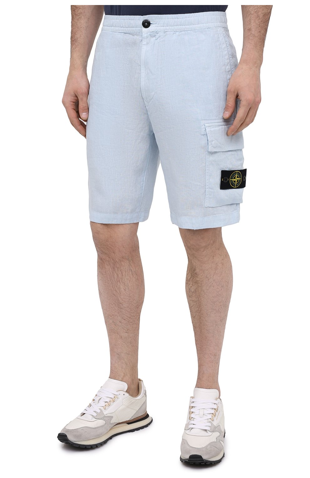 Мужские льняные шорты STONE ISLAND светло-голубого цвета, арт. 7415L1201 | Фото 3