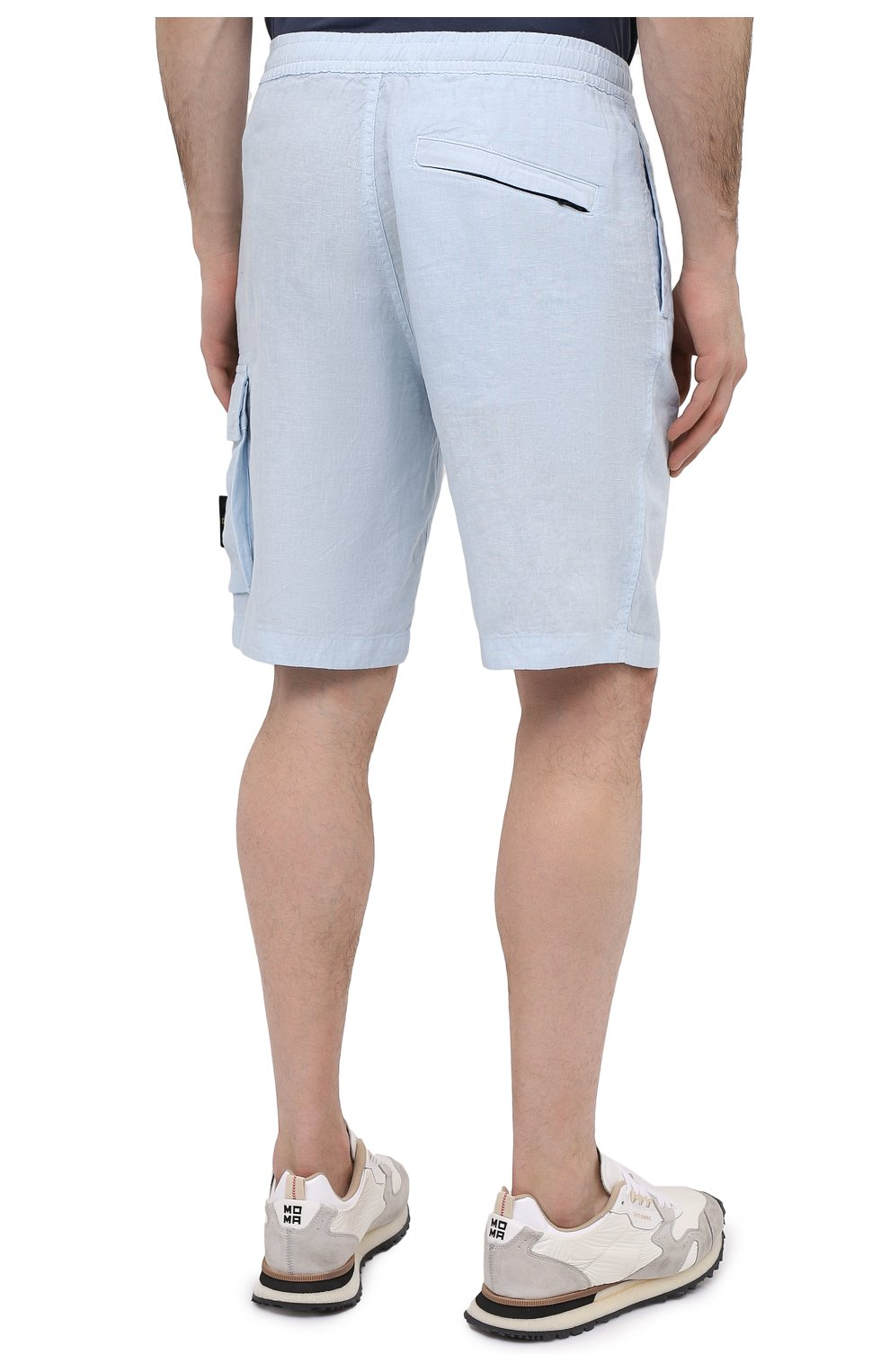 Мужские льняные шорты STONE ISLAND светло-голубого цвета, арт. 7415L1201 | Фото 4