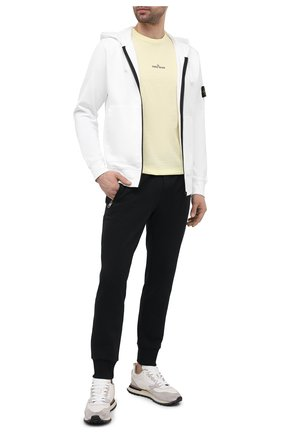 Мужской хлопковая толстовка STONE ISLAND белого цвета, арт. 741564251 | Фото 2