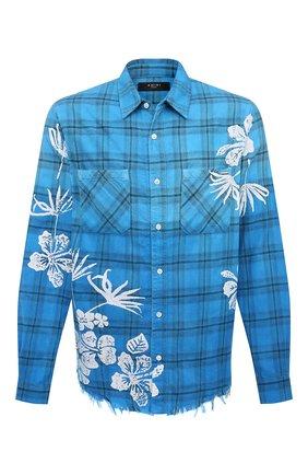 Мужская хлопковая рубашка AMIRI голубого цвета, арт. MSL010-440 | Фото 1