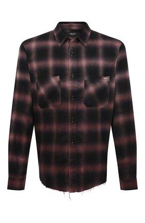 Мужская рубашка из хлопка и вискозы AMIRI коричневого цвета, арт. MSL007-200 | Фото 1