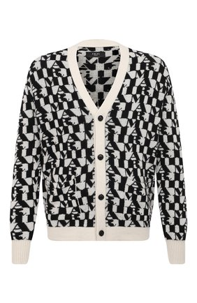 Мужской кашемировый кардиган AMIRI черно-белого цвета, арт. MKC001-005 | Фото 1 (Рукава: Длинные; Материал внешний: Кашемир, Шерсть; Мужское Кросс-КТ: Кардиган-одежда; Длина (для топов): Стандартные; Стили: Гранж)