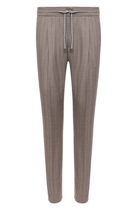 Мужские шерстяные брюки BRUNELLO CUCINELLI бежевого цвета, арт. MD473E1740 | Фото 1 (Случай: Повседневный; Материал внешний: Шерсть; Длина (брюки, джинсы): Стандартные; Материал подклада: Вискоза; Стили: Кэжуэл)