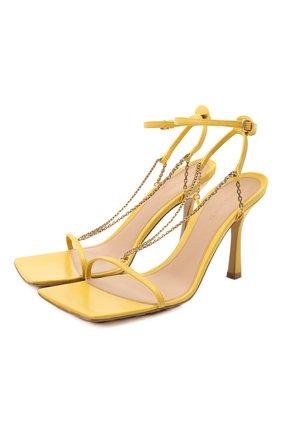 Женские кожаные босоножки stretch BOTTEGA VENETA желтого цвета, арт. 651385/VBSF0 | Фото 1