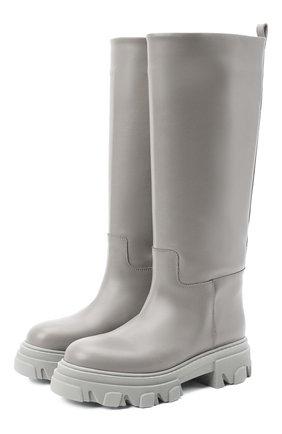 Женские кожаные сапоги GIA COUTURE серого цвета, арт. PERNI-07 B 104 | Фото 1