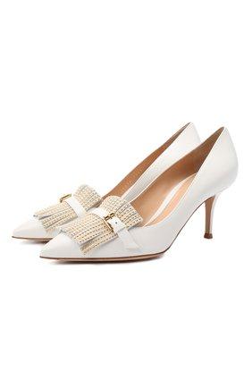 Женские кожаные туфли fringe GIANVITO ROSSI белого цвета, арт. G22094.70RIC.VTMBIBI   Фото 1