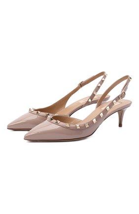 Женские кожаные туфли valentino garavani rockstud VALENTINO бежевого цвета, арт. VW2S0H14/VNW | Фото 1