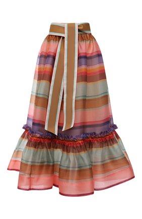 Женская шелковая юбка ZIMMERMANN разноцветного цвета, арт. 9788SAND | Фото 1