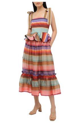 Женская шелковая юбка ZIMMERMANN разноцветного цвета, арт. 9788SAND | Фото 2