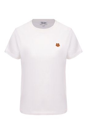 Женская хлопковая футболка KENZO белого цвета, арт. FB52TS8434SA | Фото 1 (Длина (для топов): Стандартные; Принт: Без принта; Материал внешний: Хлопок; Рукава: Короткие; Женское Кросс-КТ: Футболка-одежда; Стили: Спорт-шик)