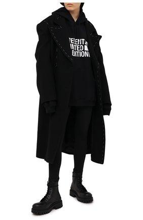 Женский хлопковое худи VETEMENTS черного цвета, арт. UE51TR820B 1604/W | Фото 2