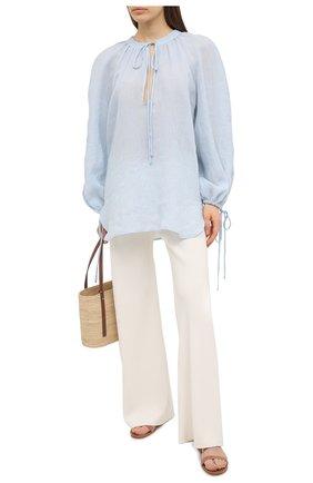 Женская льняная блузка A MERE CO голубого цвета, арт. AMC-RSS21-40B | Фото 2