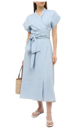 Женское льняное платье A MERE CO голубого цвета, арт. AMC-RSS21-35B | Фото 2