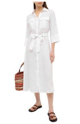 Женское льняное платье A MERE CO белого цвета, арт. AMC-RSS21-19W | Фото 2