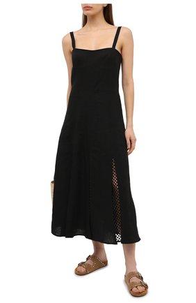 Женское льняное платье A MERE CO черного цвета, арт. AMC-RSS21-10BLBL | Фото 2