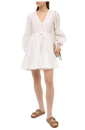 Женское льняное платье A MERE CO белого цвета, арт. AMC-RSS21-06WW | Фото 2