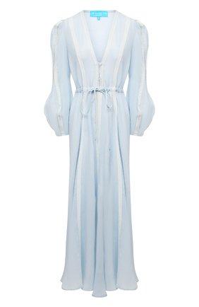 Женское льняное платье A MERE CO голубого цвета, арт. AMC-RSS21-02BW | Фото 1