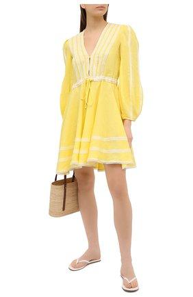 Женское льняное платье A MERE CO желтого цвета, арт. AMC-RSS21-01YW | Фото 2