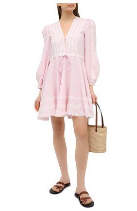 Женское льняное платье A MERE CO розового цвета, арт. AMC-RSS21-01PW | Фото 2
