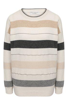 Женский кашемировый пуловер BRUNELLO CUCINELLI бежевого цвета, арт. M12180620 | Фото 1