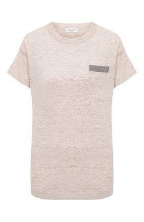 Женская футболка из льна и хлопка BRUNELLO CUCINELLI бежевого цвета, арт. MAR196410 | Фото 1
