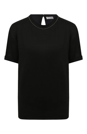 Женская льняная футболка BRUNELLO CUCINELLI черного цвета, арт. MH987BS100 | Фото 1
