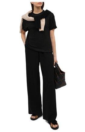 Женская льняная футболка BRUNELLO CUCINELLI черного цвета, арт. MH987BS100 | Фото 2