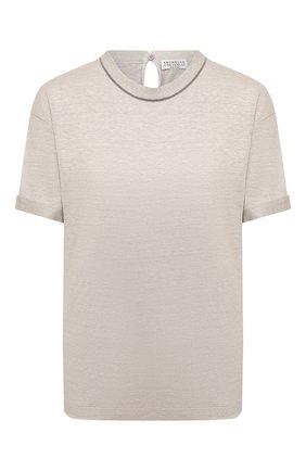 Женская льняная футболка BRUNELLO CUCINELLI светло-бежевого цвета, арт. MH987BS100 | Фото 1
