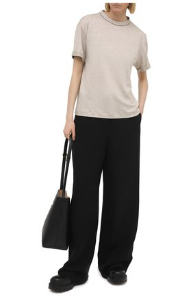Женская льняная футболка BRUNELLO CUCINELLI светло-бежевого цвета, арт. MH987BS100 | Фото 2