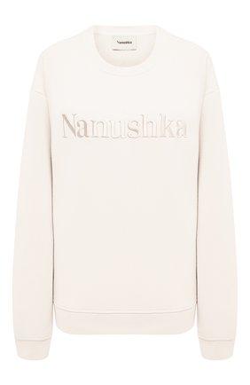 Женский хлопковый свитшот NANUSHKA светло-бежевого цвета, арт. REMY_0FF WHITE_0RGANIC FLEECE   Фото 1
