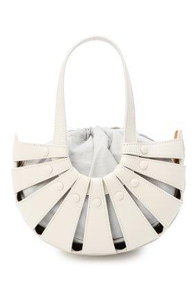 Женская сумка shell small BOTTEGA VENETA белого цвета, арт. 651819/VMAUH | Фото 1 (Ремень/цепочка: На ремешке; Материал: Натуральная кожа; Сумки-технические: Сумки top-handle; Размер: small)