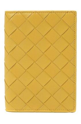 Женские кожаная обложка для паспорта BOTTEGA VENETA желтого цвета, арт. 608061/VCPP2 | Фото 1