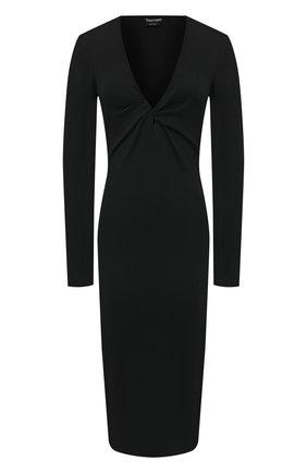 Женское платье из кашемира и шелка TOM FORD черного цвета, арт. ACK254-YAX087   Фото 1