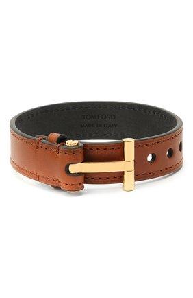 Мужской кожаный браслет TOM FORD светло-коричневого цвета, арт. JM0002T-CALBR | Фото 1