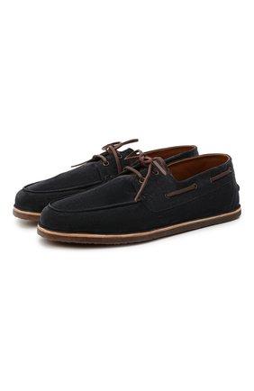 Мужские замшевые топсайдеры BRUNELLO CUCINELLI темно-синего цвета, арт. MZUCCLQ804 | Фото 1 (Материал внутренний: Натуральная кожа; Мужское Кросс-КТ: Топсайдеры-обувь; Стили: Кэжуэл; Материал внешний: Замша)
