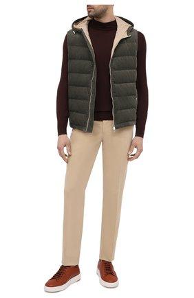 Мужские кожаные кеды SANTONI светло-коричневого цвета, арт. MBCD21430BARCMMDC35 | Фото 2 (Материал внутренний: Натуральная кожа; Подошва: Массивная)