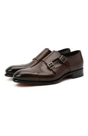 Мужские кожаные монки SANTONI темно-коричневого цвета, арт. MCCR11652MC1HVVDT50 | Фото 1 (Материал внутренний: Натуральная кожа; Стили: Классический)