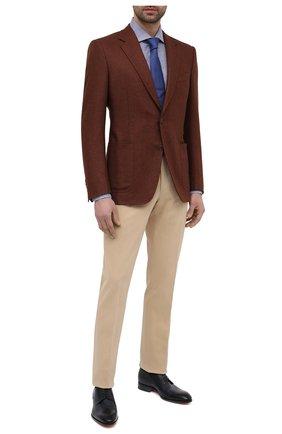 Мужские кожаные дерби SANTONI темно-синего цвета, арт. MCCR17633JC6I0BRU59 | Фото 2 (Материал внутренний: Натуральная кожа; Стили: Классический)